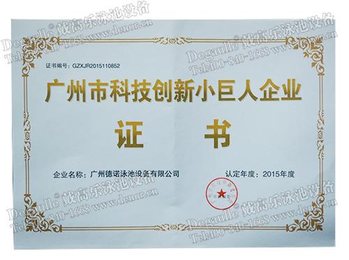 科技创新小巨人企业证书